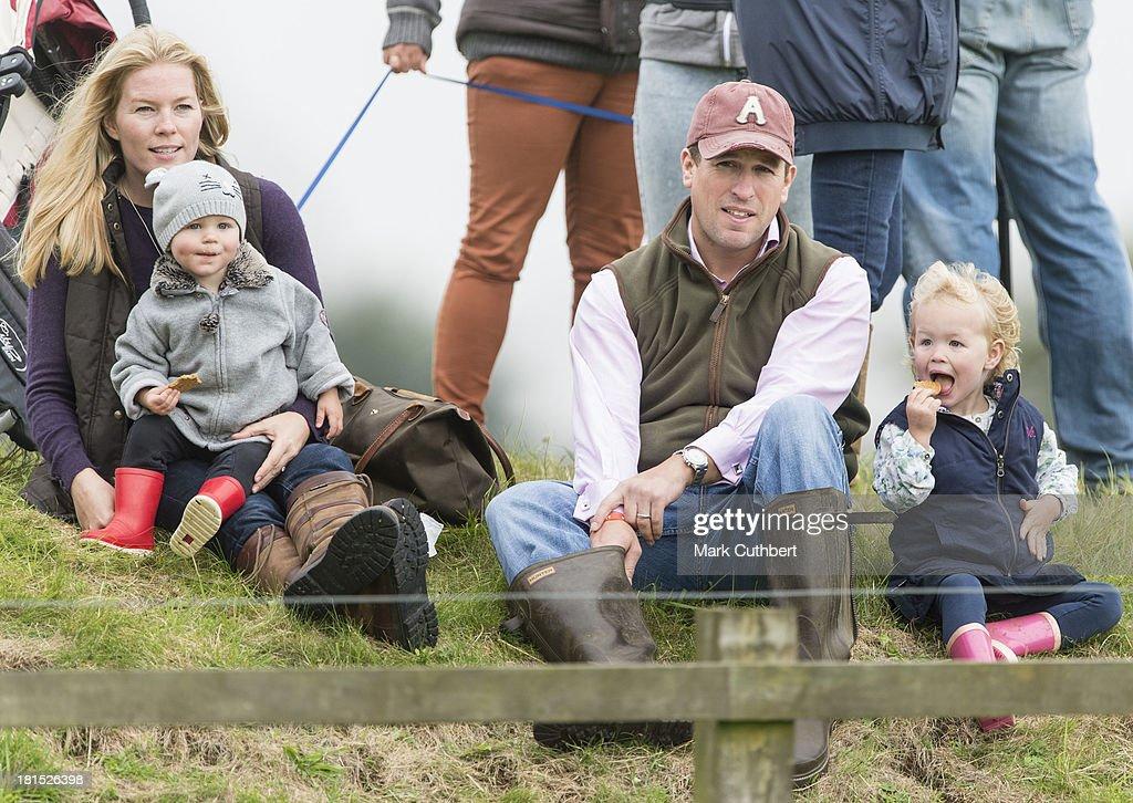 Autumn Phillips, Isla Phillips, Peter Phillips and Savannah Phillips attend the Gatcombe Horse Trials at Gatcombe Park, Minchinhampton, England.
