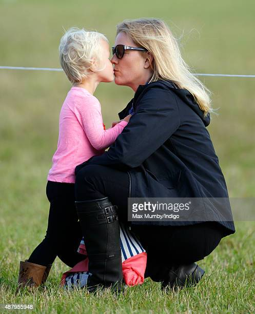 Autumn Phillips kisses daughter Isla Phillips as they attend day 2 of the Whatley Manor International Horse Trials at Gatcombe Park on September 12...