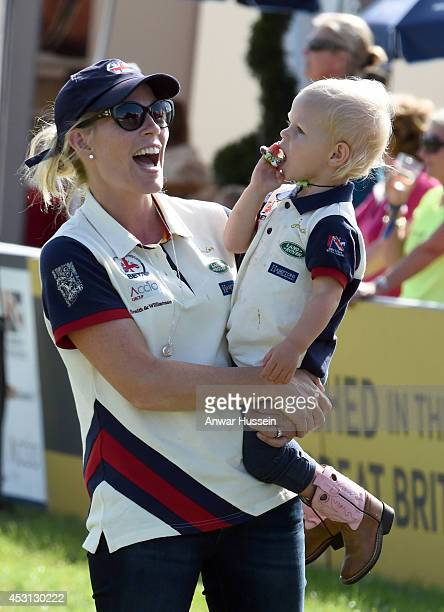 Autumn Phillips laughs as she holds daughter Isla Phillips during theFestival of British Eventing at Gatcombe Park on August 03 2014 in...