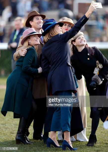 Autumn Phillips , Peter Phillips and Kirsty Gallacher pose for a selfie taken by Natalie Pinkham as they attend day 4 'Gold Cup Day' of the...