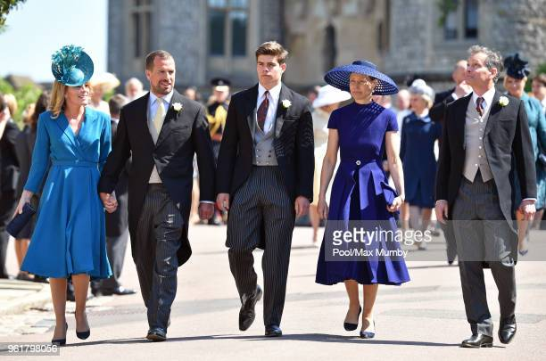 Autumn Phillips, Peter Phillips, Arthur Chatto, Lady Sarah Chatto and Daniel Chatto attend the wedding of Prince Harry to Ms Meghan Markle at St...