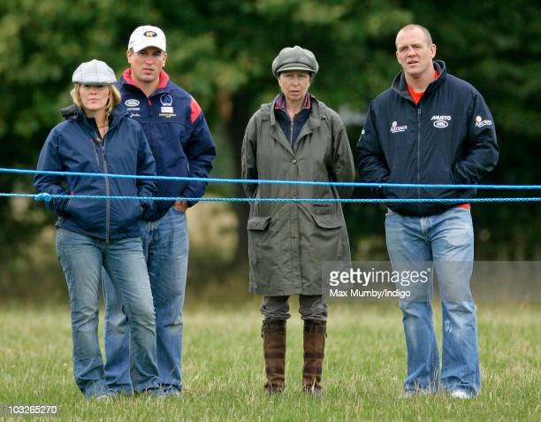 Autumn Phillips, Peter Phillips, Princess Anne, The Princess Royal and Mike Tindall watch Zara Phillips compete in the dressage phase of the Festival...