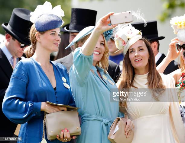 Autumn Phillips poses for a selfie with AnnaLouise Felstead and Sarah Boe on day five of Royal Ascot at Ascot Racecourse on June 22 2019 in Ascot...