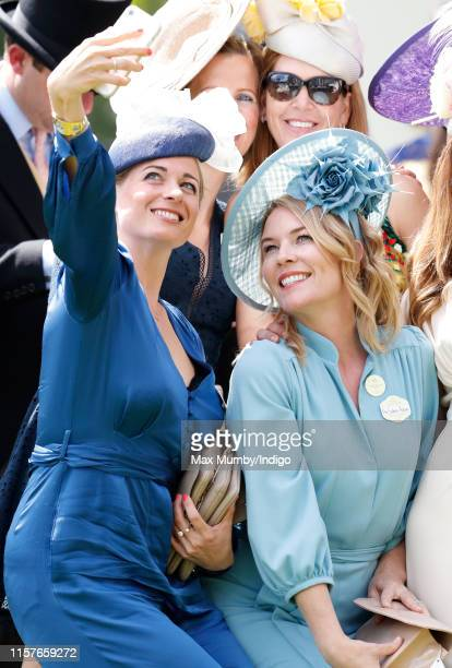 Autumn Phillips poses for a selfie with AnnaLouise Felstead on day five of Royal Ascot at Ascot Racecourse on June 22 2019 in Ascot England