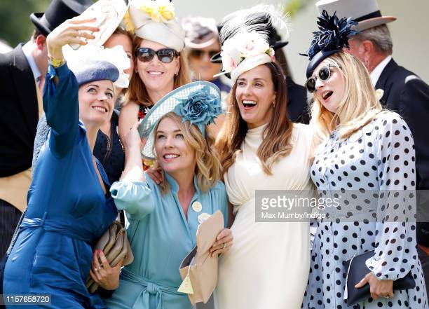 Autumn Phillips poses for a selfie with AnnaLouise Felstead Sarah Boe and Jessica Parker on day five of Royal Ascot at Ascot Racecourse on June 22...