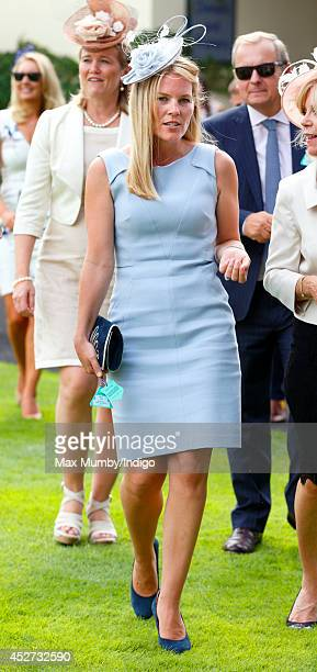 Autumn Phillips watches the horses in the parade ring as she attends the King George Day Meet at Ascot Racecourse on July 26 2014 in Ascot England