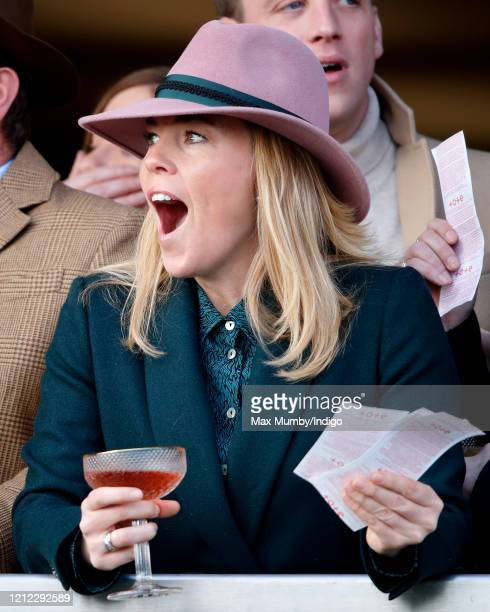 Autumn Phillips watches the racing as she attends day 4 'Gold Cup Day' of the Cheltenham Festival 2020 at Cheltenham Racecourse on March 13, 2020 in...