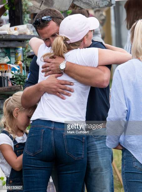 Autumn Phillips with Peter Phillips during the 2019 Festival of British Eventing at Gatcombe Park on August 2 2019 in Stroud England