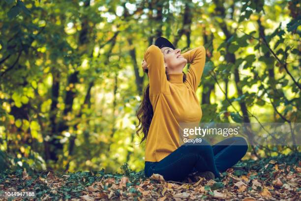 autumn photo of beautiful girl - shawl stock photos and pictures
