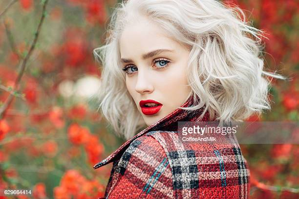autumn photo of beautiful girl - a fall from grace stock pictures, royalty-free photos & images