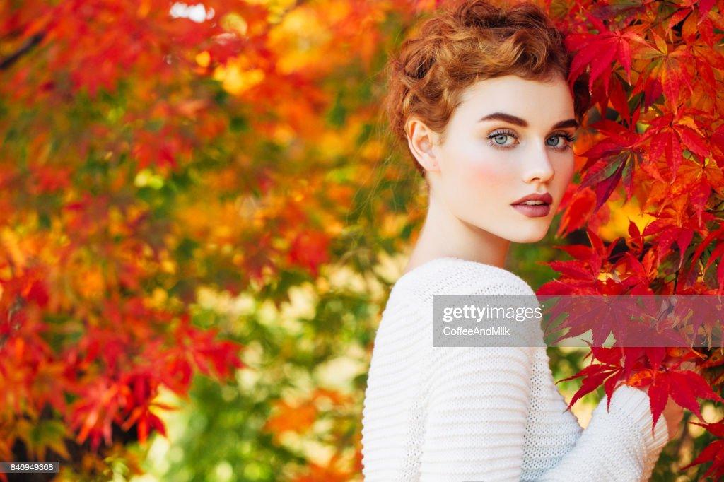 Autumn photo of beautiful girl : Stock Photo
