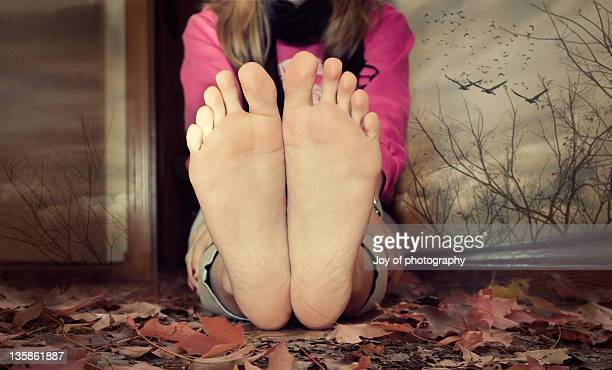 autumn - barefoot soles female stock pictures, royalty-free photos & images