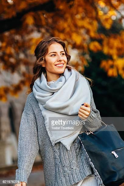 Herbst portrait einer Frau