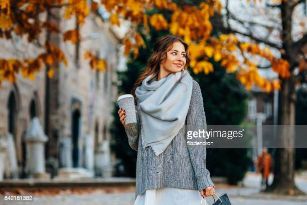 autumn portrait of a woman - a fall from grace stock pictures, royalty-free photos & images