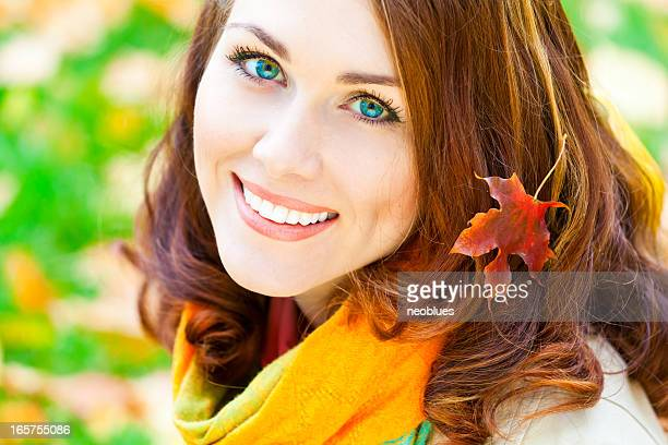 autumn portrait - shawl stock photos and pictures