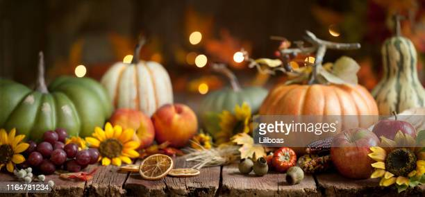 autumn pumpkin background on wood - thanksgiving holiday stock pictures, royalty-free photos & images