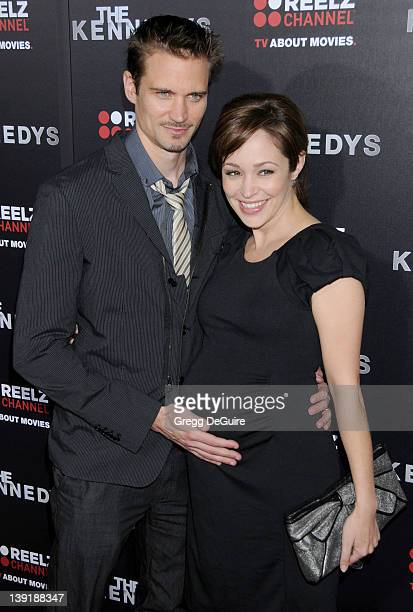 "Autumn Reeser and Jesse Warren arrive to the World Premiere of ""The Kennedys"" at The Academy Theater on March 28, 2011 in Beverly Hills, California."