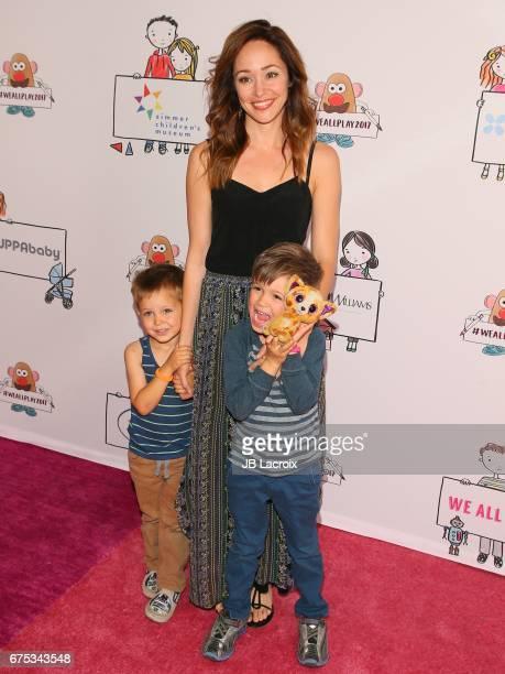 Autumn Reeser Finn Warren and Dash Warren attend Zimmer Children's Museum Event on April 30 2017 in Los Angeles California