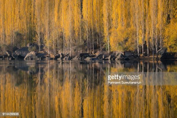 autumn reflection at upper kachura lake in skardu, pakistan - gilgit baltistan stock photos and pictures