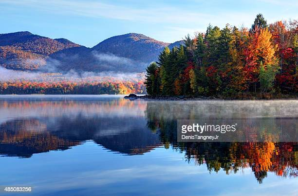 autumn reflection in scenic vermont - landscape scenery stock photos and pictures