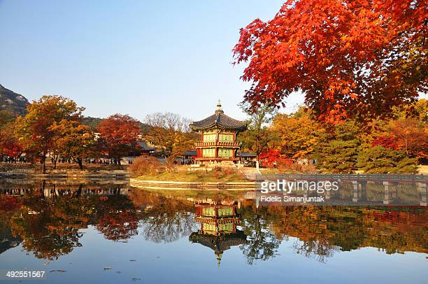 CONTENT] Autumn reflection in water at Gyeongbokgung Palace Seoul South Korea