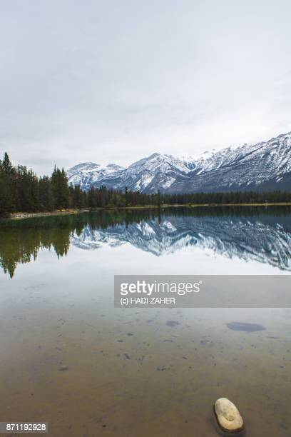 Autumn reflections by a lake | Jasper National Park | Alberta | Canada