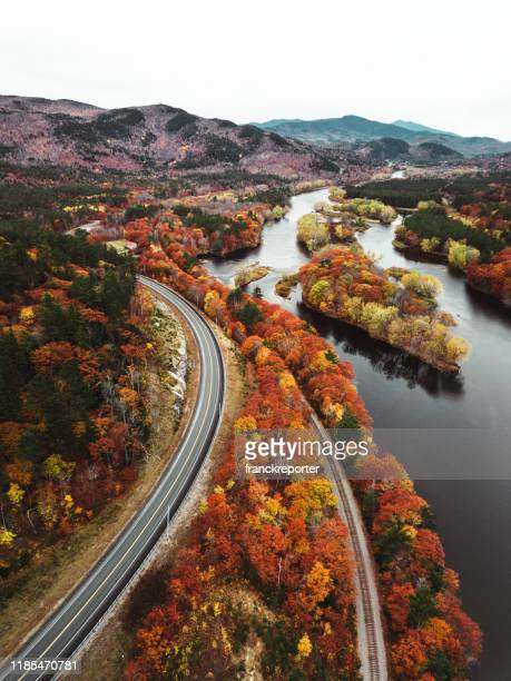 autumn road aerial view in new hampshire - new hampshire stock pictures, royalty-free photos & images