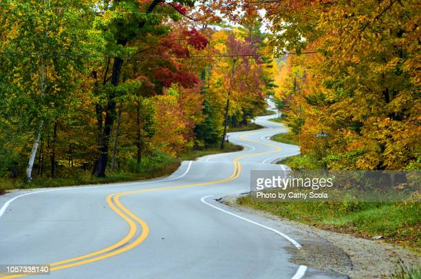 autumn road in wisconsin - winding road stock pictures, royalty-free photos & images