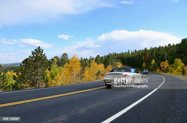 autumn road trip, colorado - bmw stock pictures, royalty-free photos & images