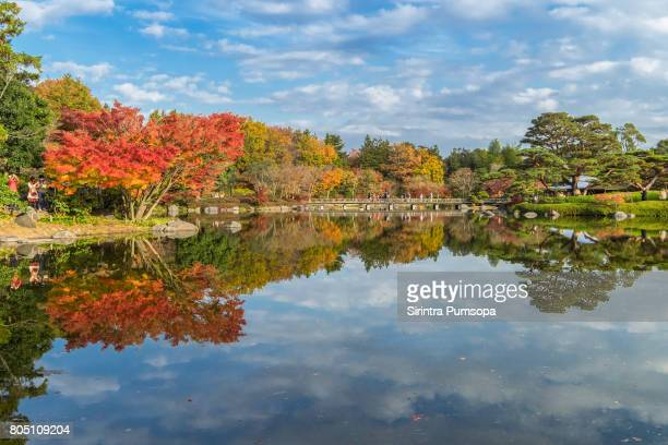 Autumn scenery in Japanese Garden of Showa Memorial Park in Tokyo, Japan