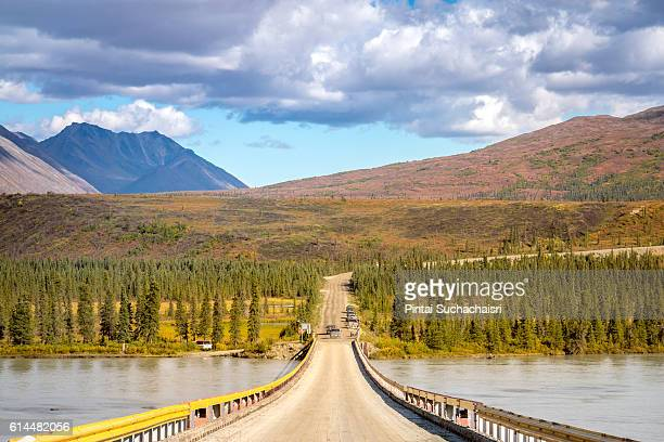 Autumn Scenery of Mountains and Lake on the Alaska Highway