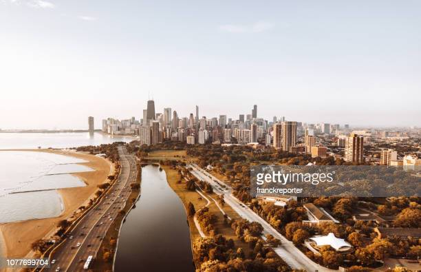 autumn skyline of chicago - chicago illinois stock pictures, royalty-free photos & images