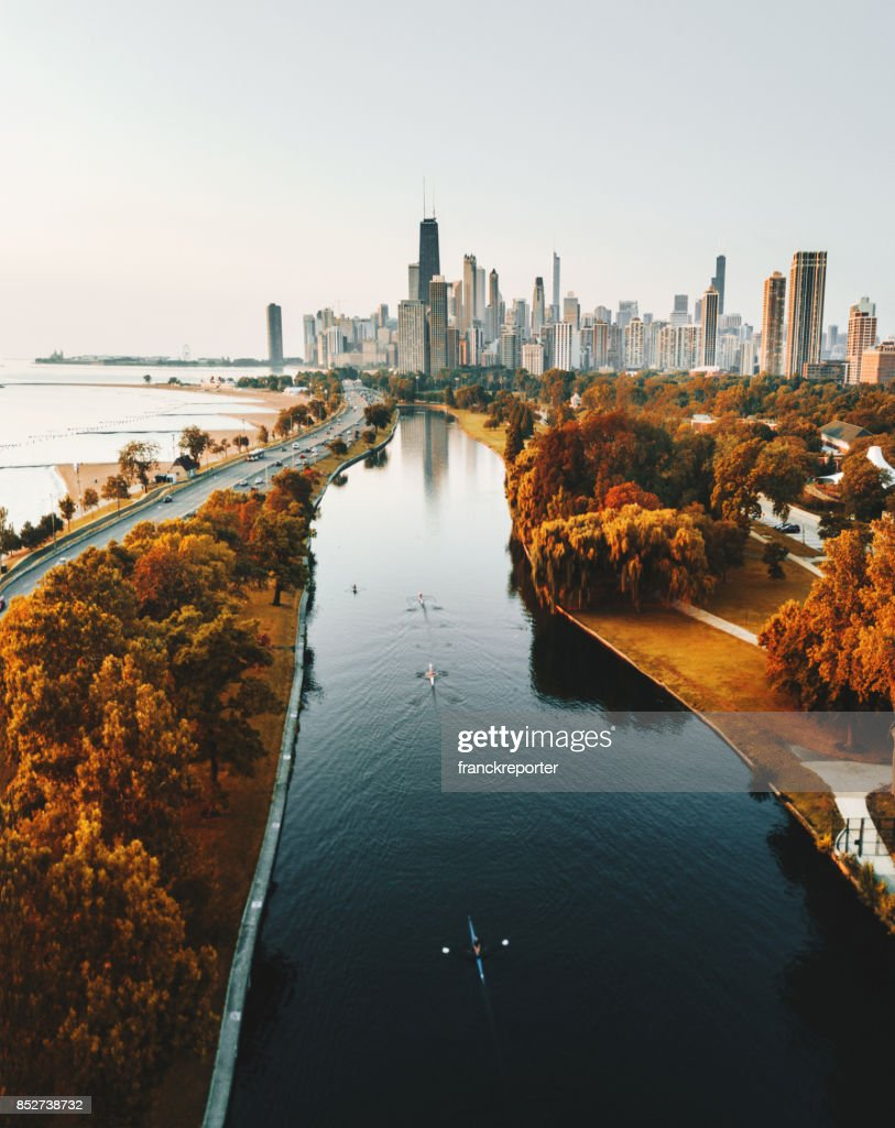 autumn skyline of chicago : Stock Photo