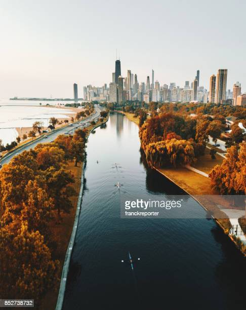 autumn skyline of chicago - illinois stock pictures, royalty-free photos & images