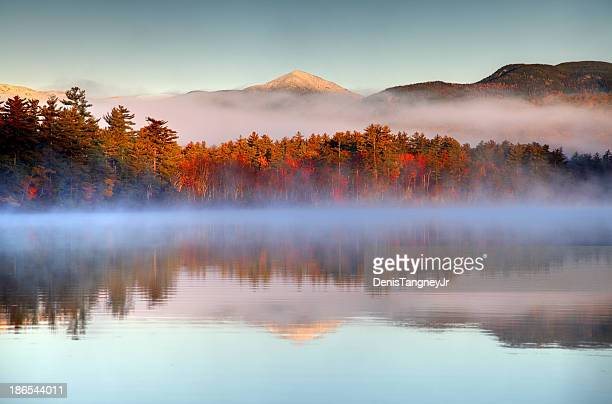Autumn snowcapped White Mountains in New Hampshire