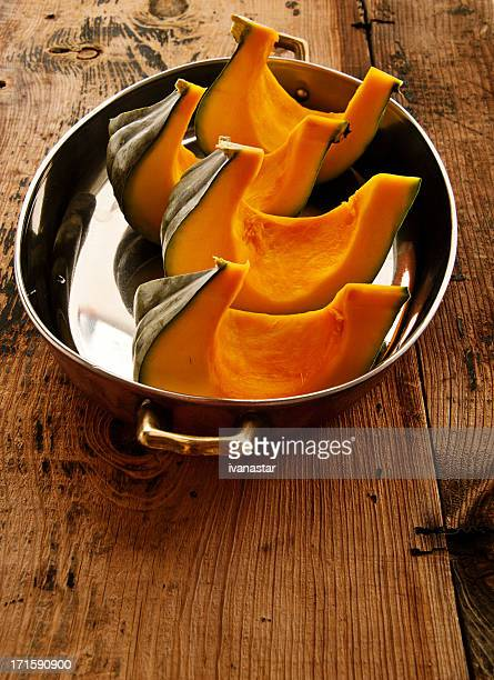 Autumn Squash and Pumpkin on Old Wooden Table