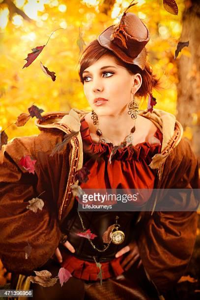 autumn steampunk fairy - down blouse stockfoto's en -beelden