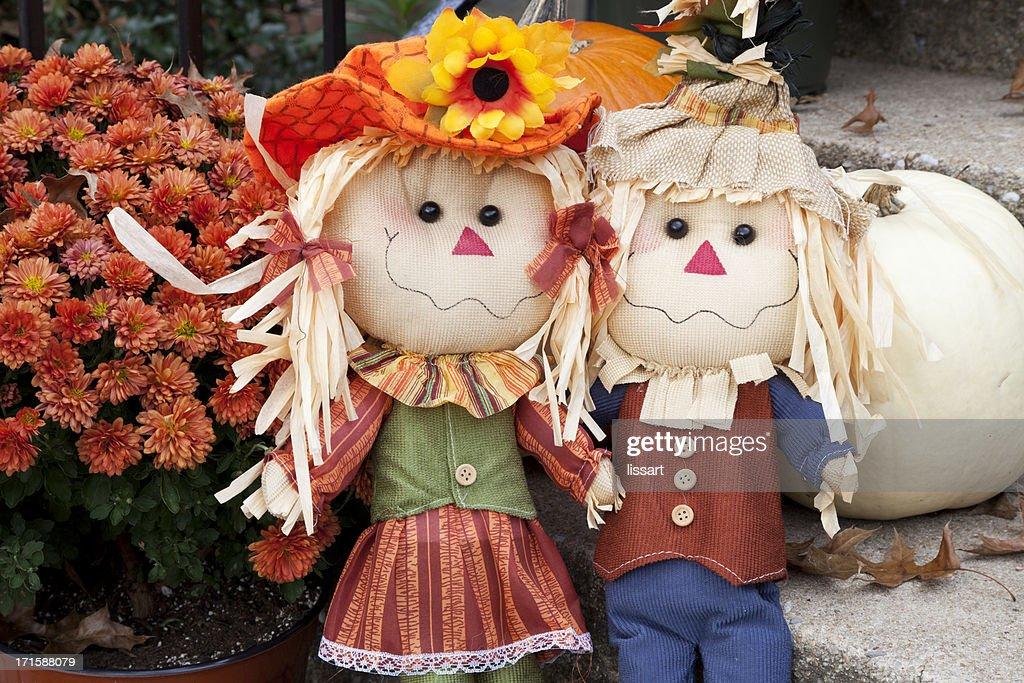 Autumn Still Life Scarecrows and Pumpkins : Stock Photo