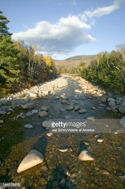 Autumn stream in Crawford Notch State Park in White Mountains of New Hampshire New England