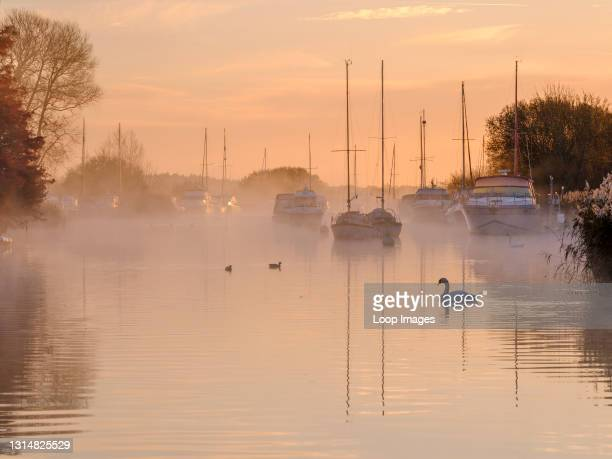 Autumn sunrise over the River Frome at Wareham.