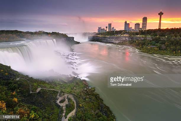 Autumn sunset at Niagara Falls