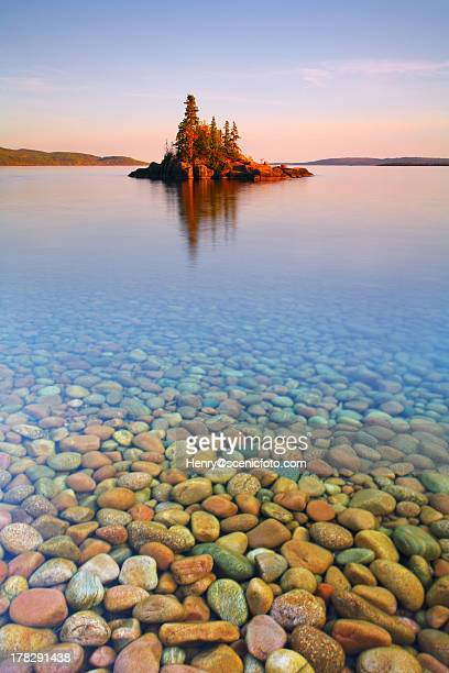 autumn sunset on a tiny island - lake superior stock pictures, royalty-free photos & images