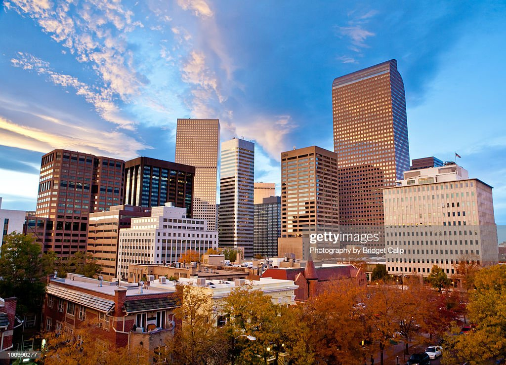 Autumn Sunset Over the Downtown Denver Skyline : Stock Photo