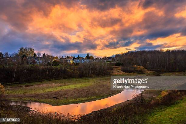 autumn sunset - moncton stock photos and pictures