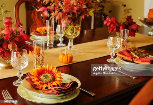 autumn table setting. decorated table for thanksgiving dinner - thanksgiving background stock photos and pictures