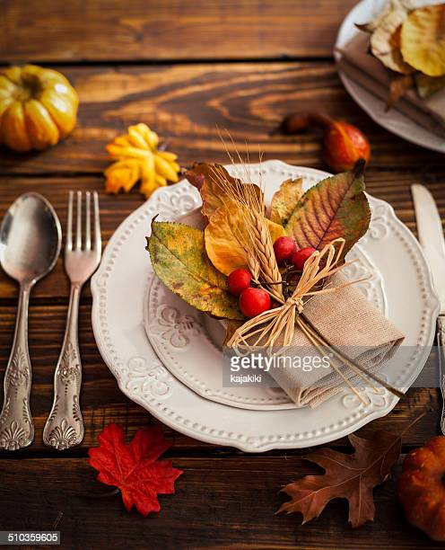 autumn table setting - november background stock photos and pictures
