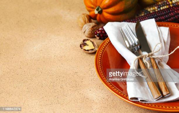 autumn table setting. thanksgiving dinner and autumn decoration - canadian thanksgiving stock pictures, royalty-free photos & images