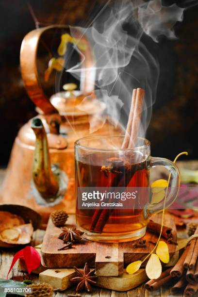 autumn tea - hot drink stock pictures, royalty-free photos & images
