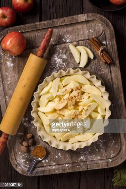 autumn thanksgiving apple pie baking - apple pie stock photos and pictures