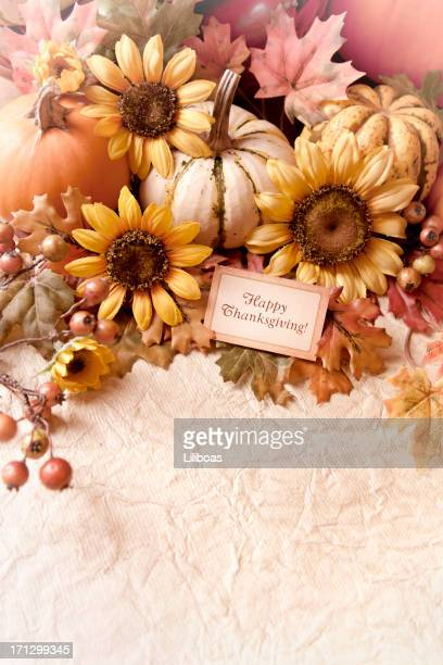 autumn thanksgiving arrangement - happy thanksgiving card stock pictures, royalty-free photos & images